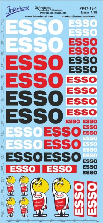 Öl Produkte 7-1 ESSO Sponsoren Decal 1/18 (195x90 mm)