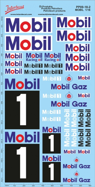 Öl Produkte 09-2  MOBIL  Sponsoren Decal 1/18 (195x100 mm)