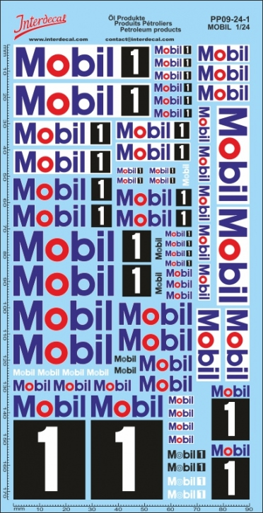 Öl Produkte 9-1 Mobil Sponsoren Decal 1/24 (200x100 mm)