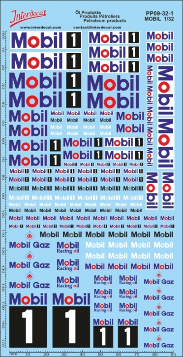 Öl Produkte 9-1 Mobil Sponsoren Decal 1/32 (200x100 mm)