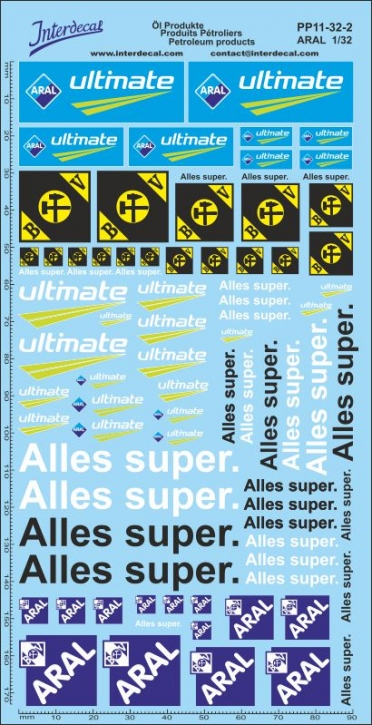 Öl Produkte 11-2 Aral Sponsoren Decal 1/32 (200x100 mm)
