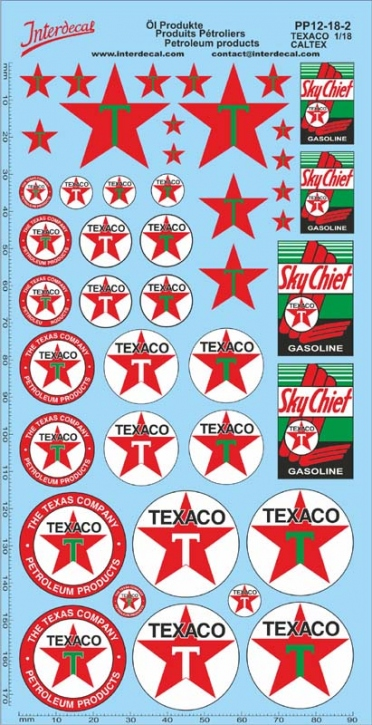 Öl Produkte 12-2 Texaco/Caltex Sponsoren Decal 1/18 (195x100 mm)