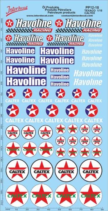 Öl Produkte 12-3B Texaco/Caltex Sponsoren Decal 1/18 (195x100 mm)