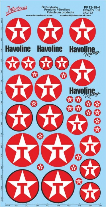 Öl Produkte 12-4 Texaco/Caltex Sponsoren Decal 1/18 (195x100 mm)