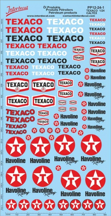 Öl Produkte 12-1 Texaco/Caltex Sponsoren Decal 1/24 (195x100 mm)