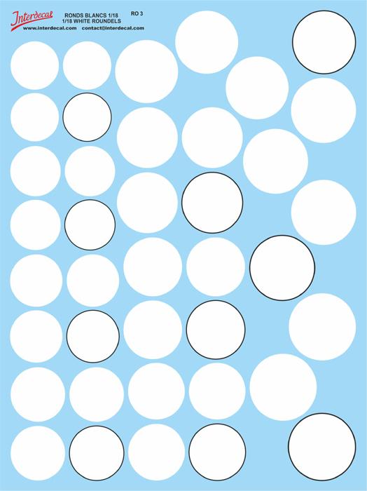 Roundels white 23,0 - 32,0 mm 1/18  (175x230 mm)