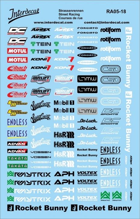 Straßenrennen Drift Sponsoren Decal 1/18 (140x90 mm)