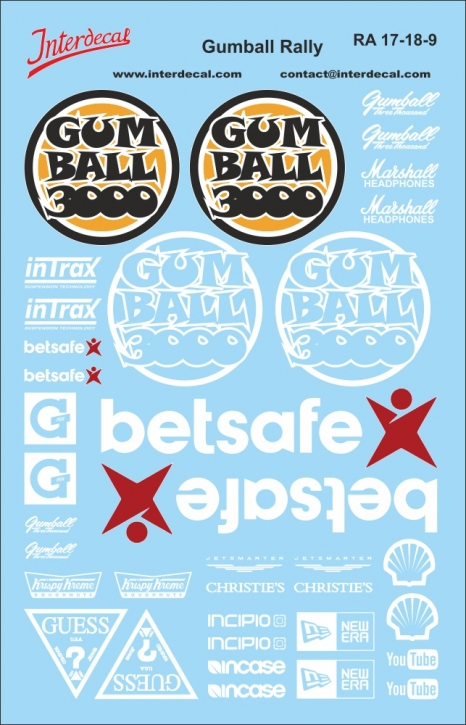 Gumball Rally Decals weiss 1/18 (140x90 mm)