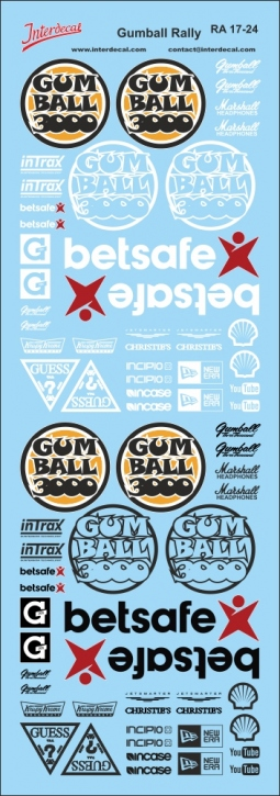 Gumball Rally Decals 1/24 (70x200 mm)