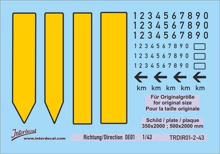 Verkehrsschilder Richtung 01-2 DE  _1/43  (90x63 mm)