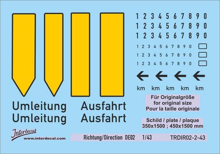 Verkehrsschilder Richtung 02-2 DE  _1/43  (90x63 mm)