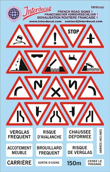 Traffic signs France 01 _1/43  (90x140 mm)
