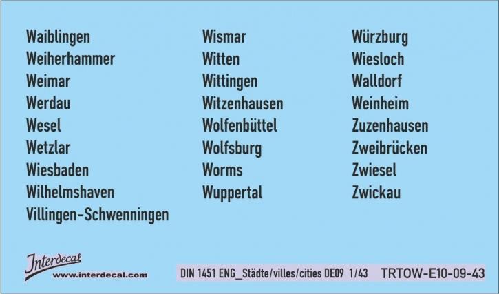 Verkehrsschilder Stadt 09 DE _1/43 (DIN 1451 ENG pt10) (90x53 mm)