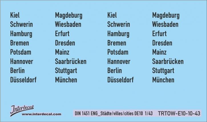 Verkehrsschilder Stadt 10 DE _1/43  (DIN 1451 ENG pt10) (90x53 mm)