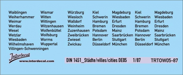 Traffic signs cities 05 DE_1/87  (90x37 mm)