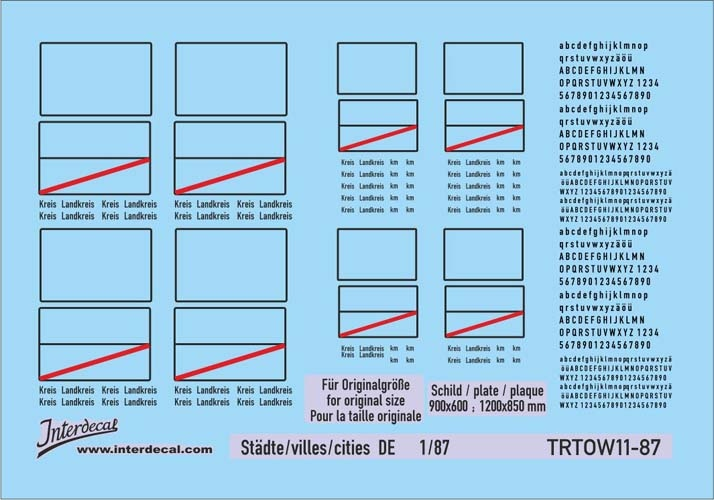 Traffic signs cities 11 DE_1/87 (90x63 mm)