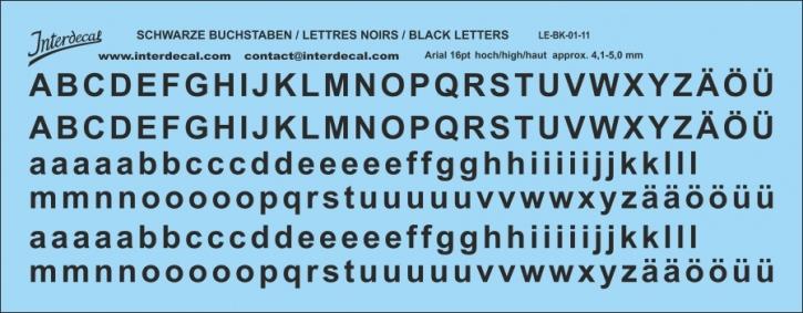 Buchstaben / lettre / letters  Arial 16  pt. (141x55 mm)