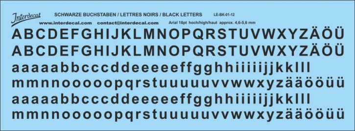 Buchstaben / lettre / letters Arial 18  pt. (157x58 mm)