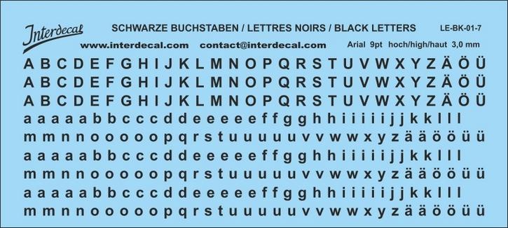 Buchstaben / lettre / letters Arial 9 pt. (110x49 mm)