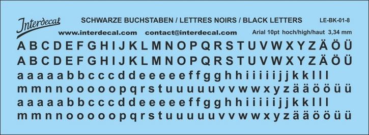 Buchstaben / lettre / letters Arial 10 pt. (110x40 mm)