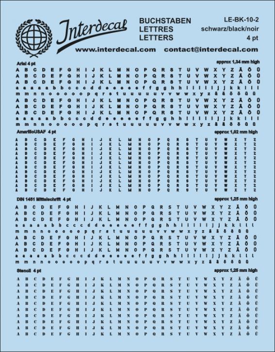 Buchstaben schwarz Arial; AmarilloUSAF; DIN 1451 Mittelschrift; Stencil  4 pt. (approx 1,0-1,4 mm high) (110x90 mm)
