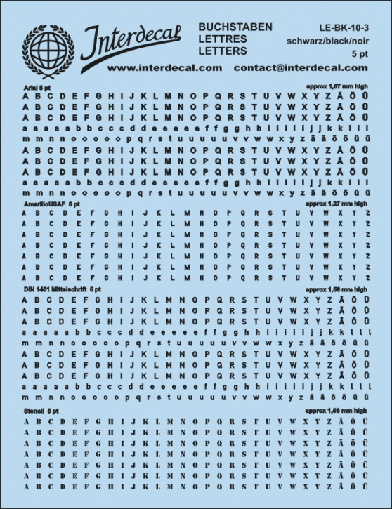Buchstaben schwarz Arial; AmarilloUSAF; DIN 1451 Mittelschrift; Stencil  5 pt. (approx 1,3-1,7 mm high) (117x90 mm)