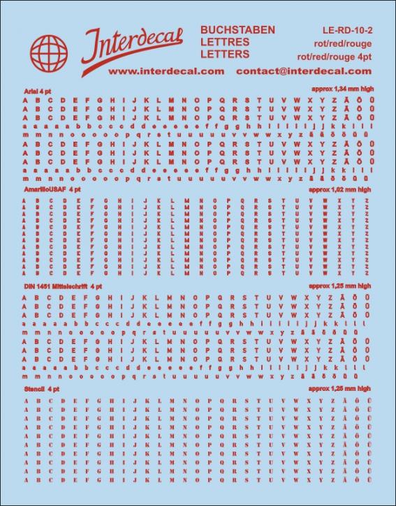 Buchstaben rot Arial; AmarilloUSAF; DIN 1451 Mittelschrift; Stencil  4 pt. (approx 1,0-1,4 mm high) (110x90 mm)
