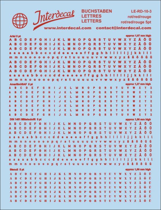 Buchstaben rot Arial; AmarilloUSAF; DIN 1451 Mittelschrift; Stencil  5 pt. (approx 1,3-1,7 mm high) (117x90 mm)