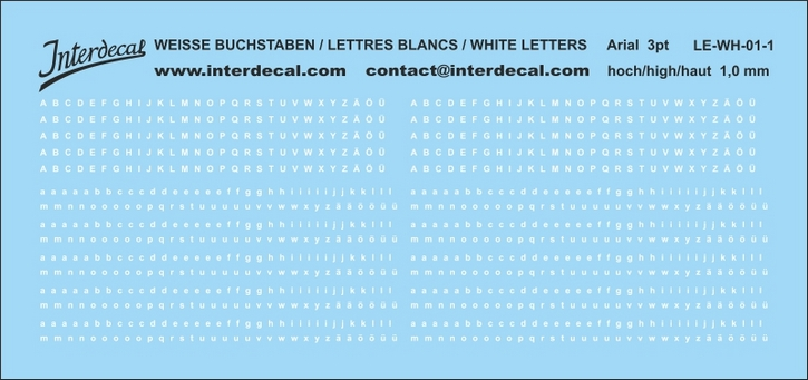 Buchstaben / lettres / letters Arial 3 pt. (98x46 mm)