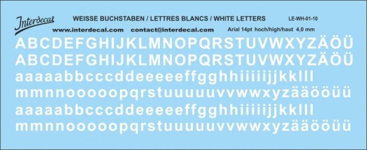 Buchstaben / lettre / letters Arial 14 pt. (120x45 mm)
