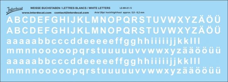 Buchstaben / lettre / letters Arial 20  pt. (180x65 mm)