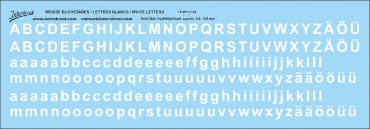 Buchstaben / lettre / letters Arial 22  pt. (196x68 mm)