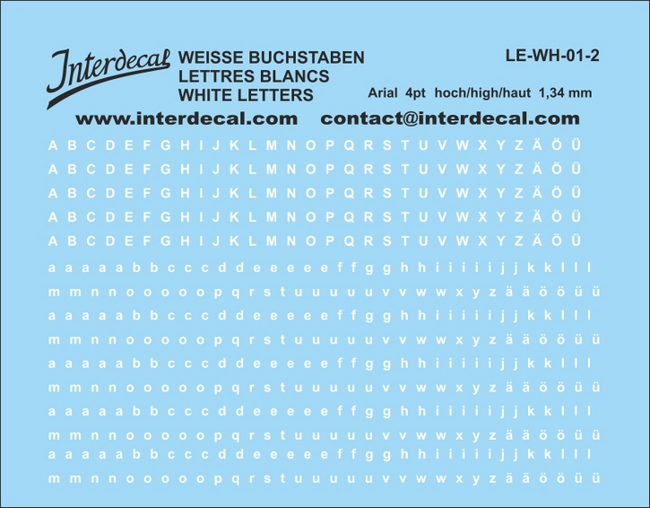 Buchstaben / lettre / letters Arial 4 pt. (68x53 mm)