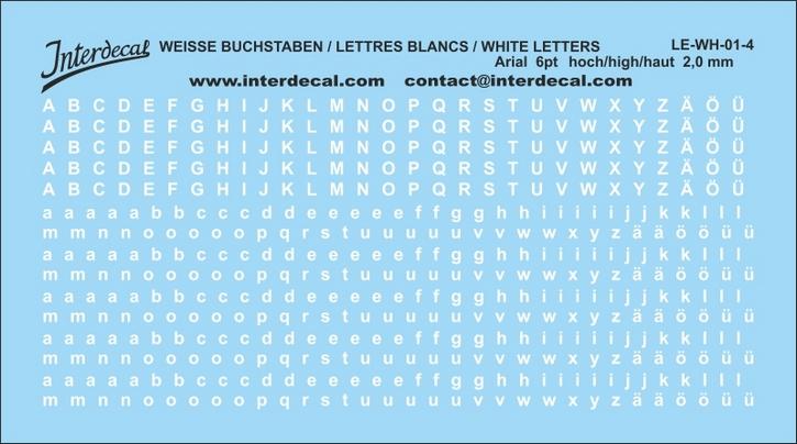 Buchstaben / lettre / letters Arial 6 pt. (95x53 mm)
