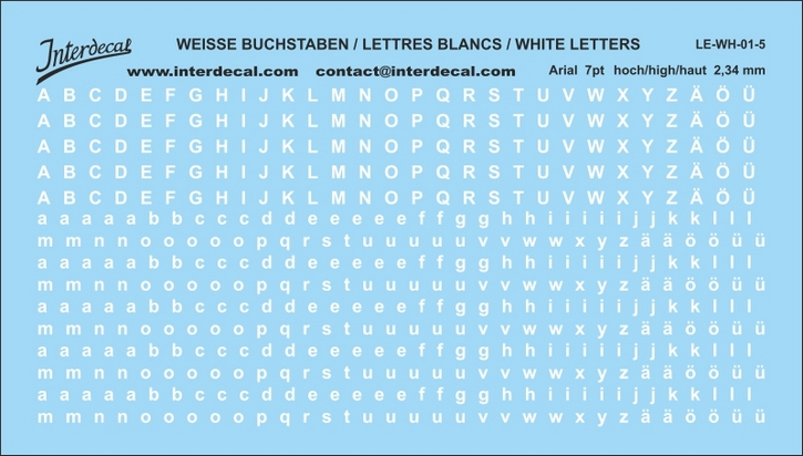 Buchstaben / lettre / letters Arial 7 pt. (110x62 mm)