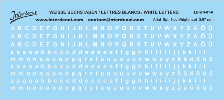 Buchstaben / lettre / letters Arial 8 pt. (110x49 mm)
