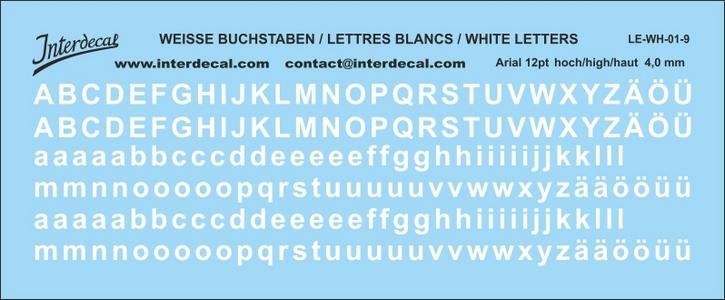 Buchstaben / lettre / letters Arial 12 pt. (110x45 mm)