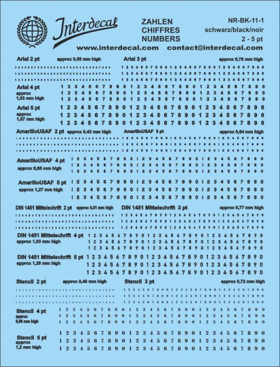 Black numbers  11 (fonts:Arial; AmarilloUSAF;DIN1451 Mittelschr.;Stencil) approx. high 0,48 - 1,67 mm   pt 2-5 118x90 mm)