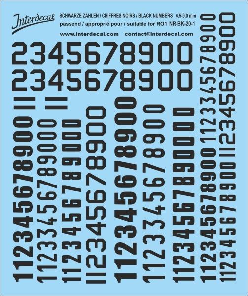 Schwarze Zahlen 01 für RO1 6,5-9 mm  (100x120 mm)  NR-BK-20-1