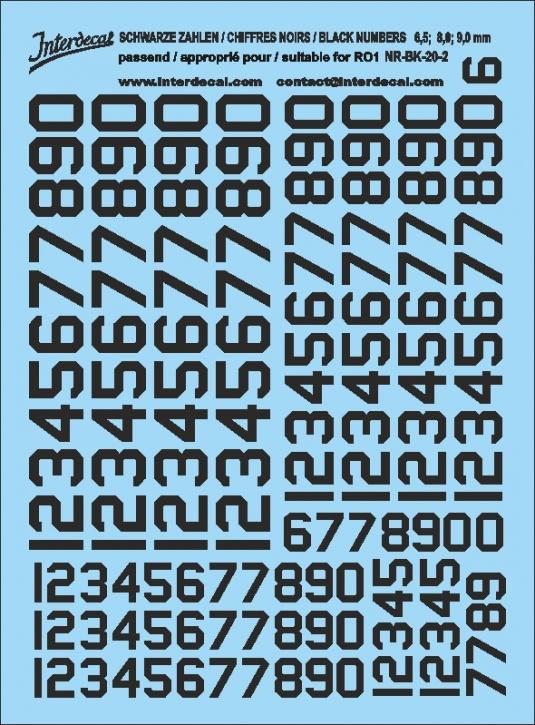 Schwarze Zahlen 02 für RO1 6,5-9 mm  (122x90 mm) NR-BK-20-2