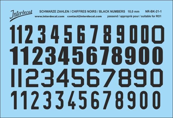 Schwarze Zahlen 01 für RO1 10 mm  (64x94 mm) NR-BK-21-1