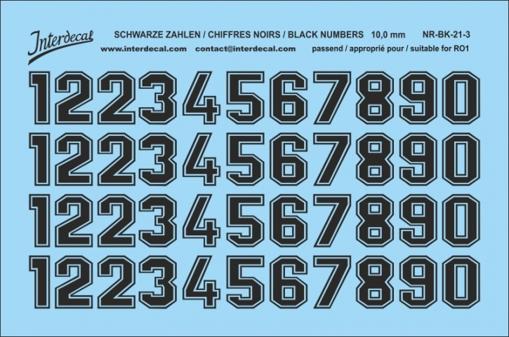 Black numbers 03 for RO1 10 mm  (95x63 mm) NR-BK-21-3
