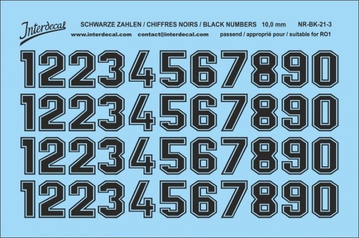 Schwarze Zahlen 03 für RO1 10 mm  (95x63 mm) NR-BK-21-3