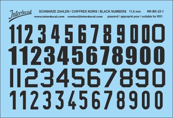 Schwarze Zahlen 01 für RO1 11 mm  (104x69 mm) NR-BK-22-1