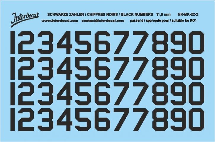 Schwarze Zahlen 02 für RO1 10 mm 11 mm  (104x69 mm) NR-BK-22-2