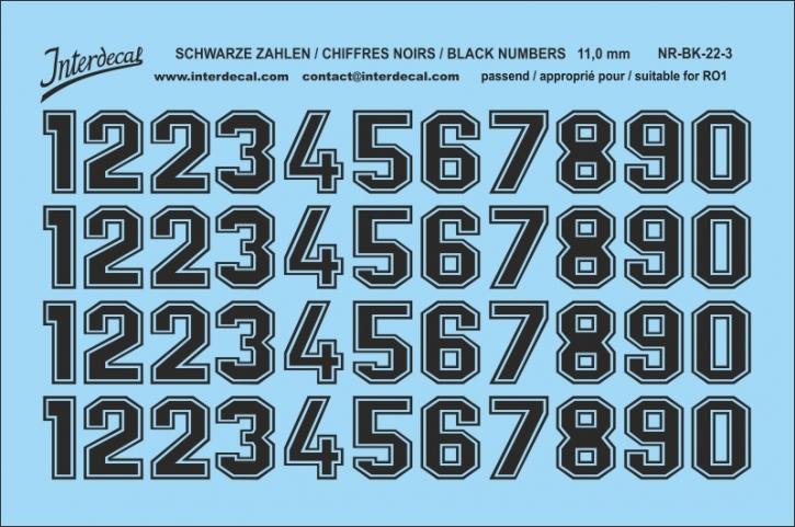 Schwarze Zahlen 03 für RO1 10 mm 11 mm  (104x69 mm) NR-BK-22-3