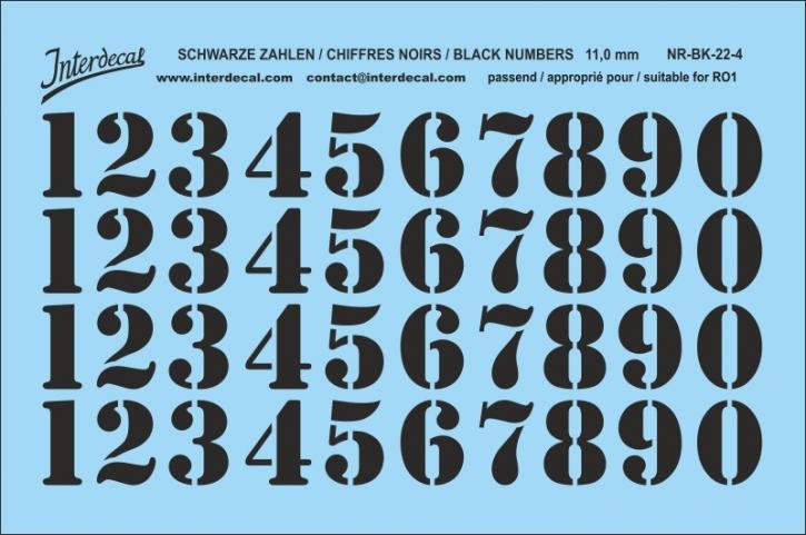 Schwarze Zahlen 04 für RO1 11 mm  (104 x 69 mm) NR-BK-22-4