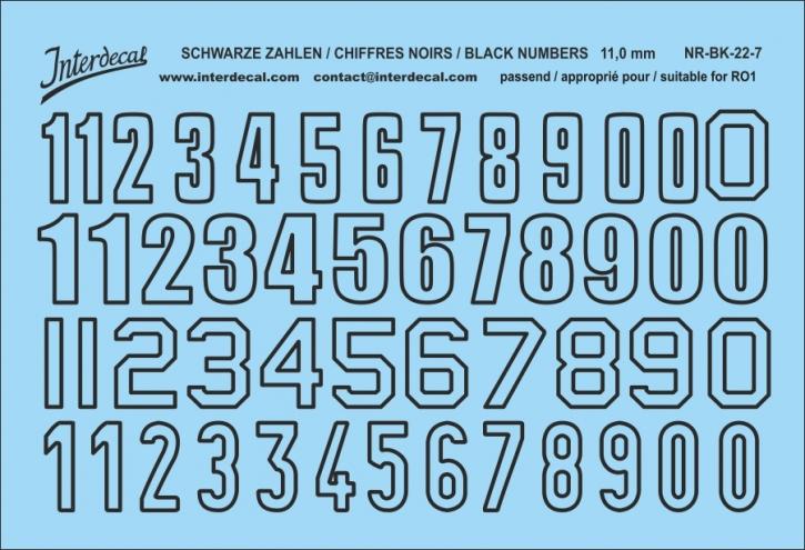 Schwarze Zahlen 07 for R01  11 mm (100x69 mm) NR-BK-22-7