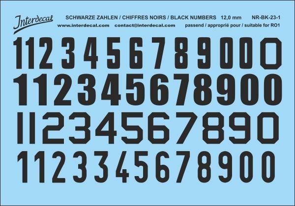 Schwarze Zahlen 01 für RO1 12 mm  (110x78mm) NR-BK-23-1