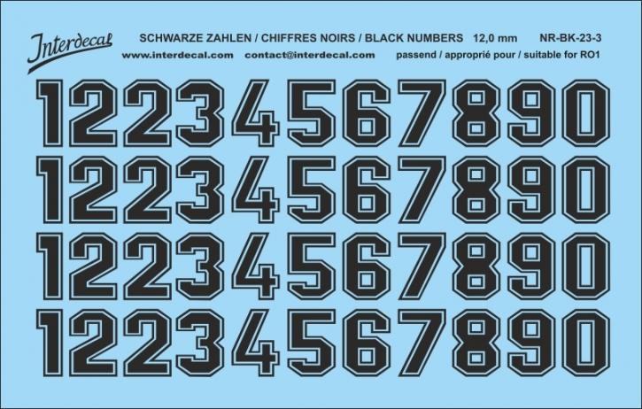 Schwarze Zahlen 03 für RO1 12 mm  (113x72mm) NR-BK-23-3